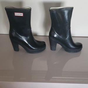 Hunter high heel rain boot sz 5/6